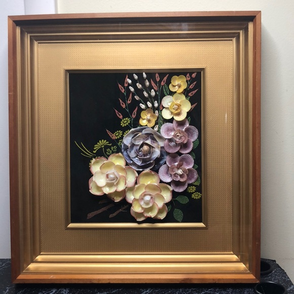 Vintage floral shell art shadow box